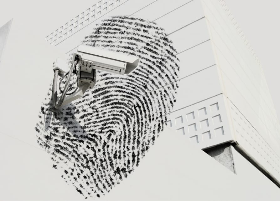 A security camera superimposed over an image of a fingerprint
